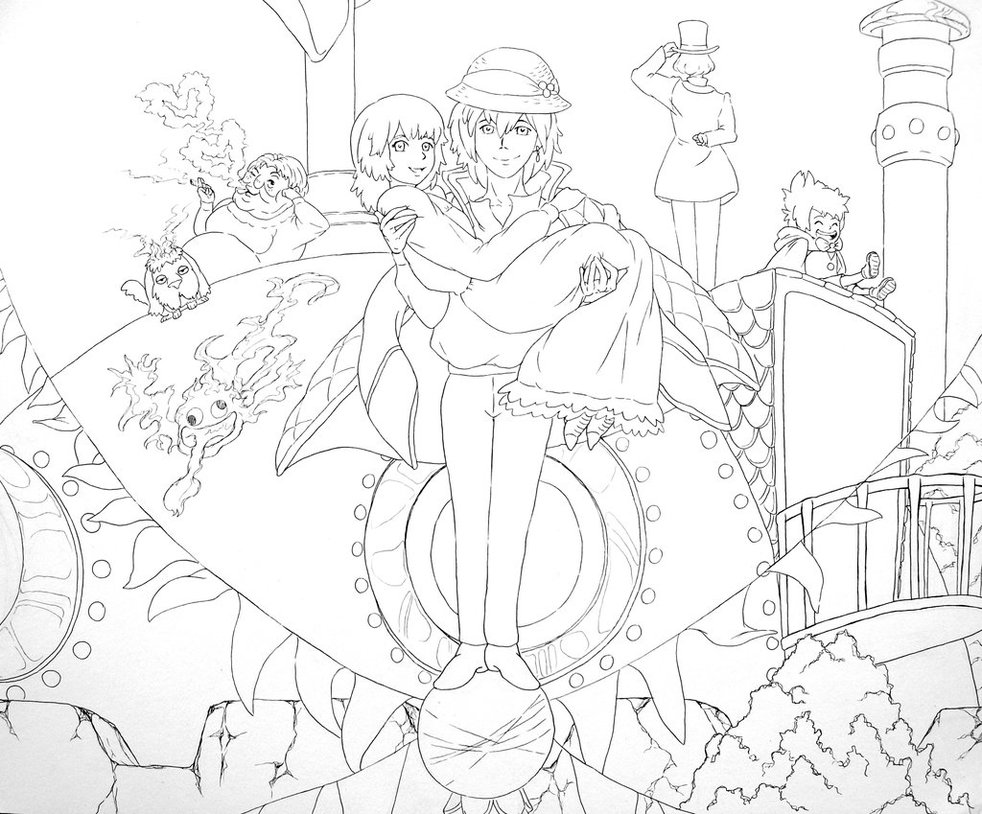982x814 Wonderful Howl S Moving Castle Coloring Pages Lines