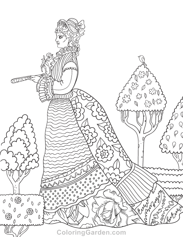 600x776 Free Printable Victorian Woman Adult Coloring Page Download It
