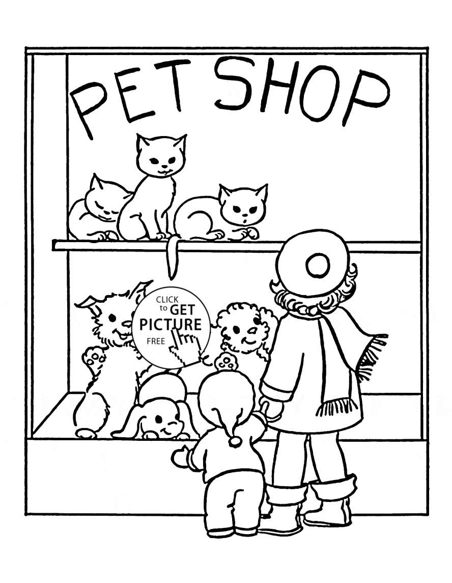 888x1144 Free French Worksheets Kids And Pet Shop Coloring Page