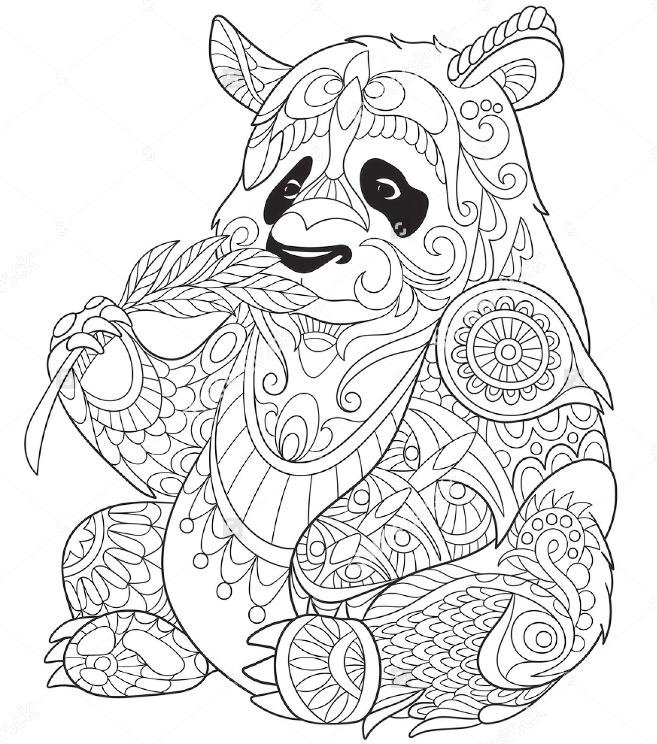 1310x1484 Panda Eating Bamboo Zentangle Coloring Page Art Pages