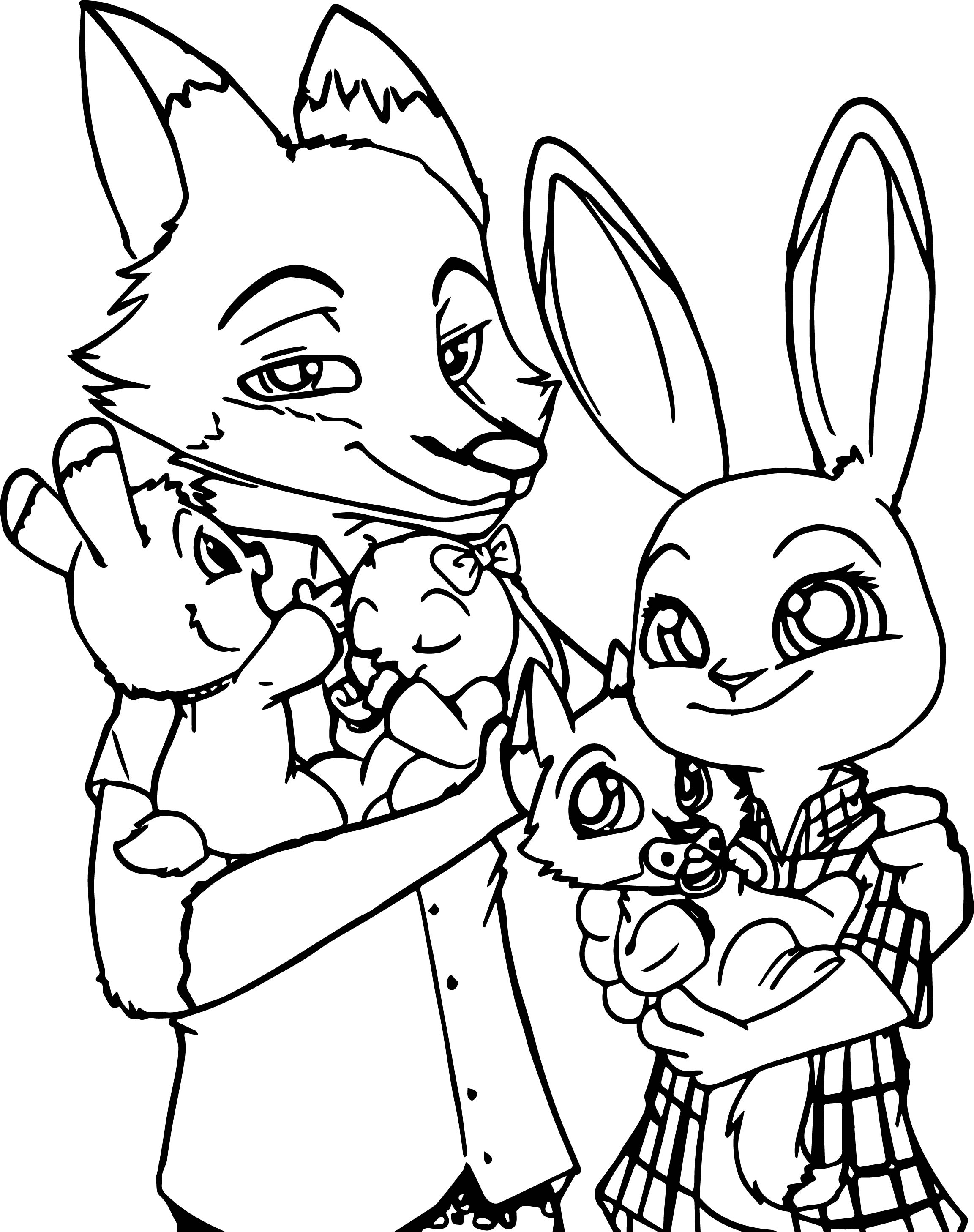 2305x2915 Zootopia Bunny And Fox Family Coloring Page Wecoloringpage