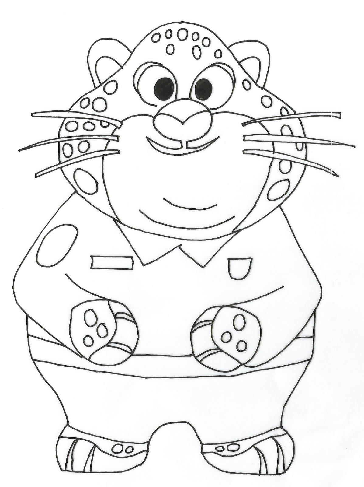 1197x1600 Benjamin Clawhauser Zootopia Coloring Page