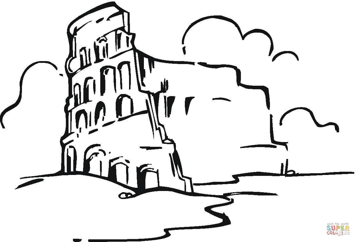 1200x816 Astonishing Colosseum In The Clouds Coloring Page Printable Pics