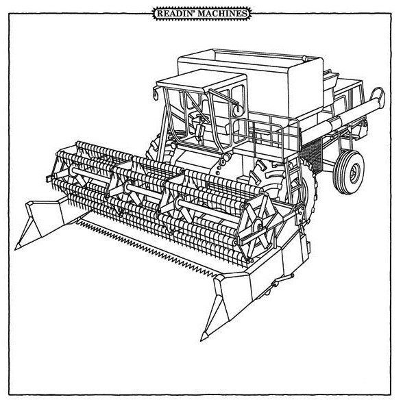 588x587 Combine Harvester Coloring Pages Farm Machinery Coloring Pages