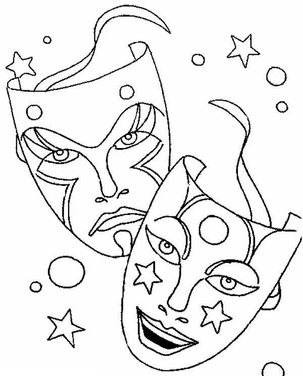 600x744 Mardi Gras, Comedy Tragedy Mask As Mardi Gras Symbol Coloring