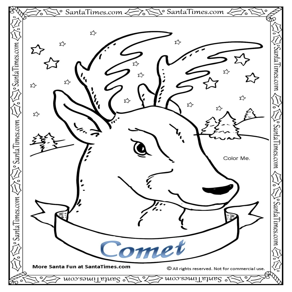 1024x1024 Comet The Reindeer Coloring Page More Reindeer Coloring Pages