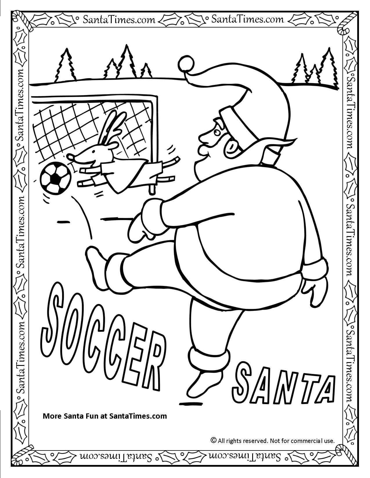 1275x1650 Soccer Santa Printable Christmas Coloring Page Lots And Lots