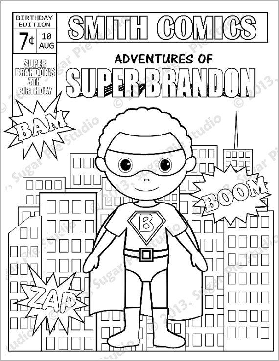 570x738 Personalized Printable Comic Book Superhero Girl Boy Birthday