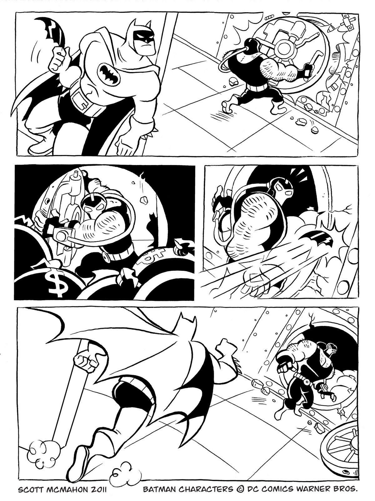 1200x1600 Batman Vs Bane Colouring Page, Comic Strip Dc Universe