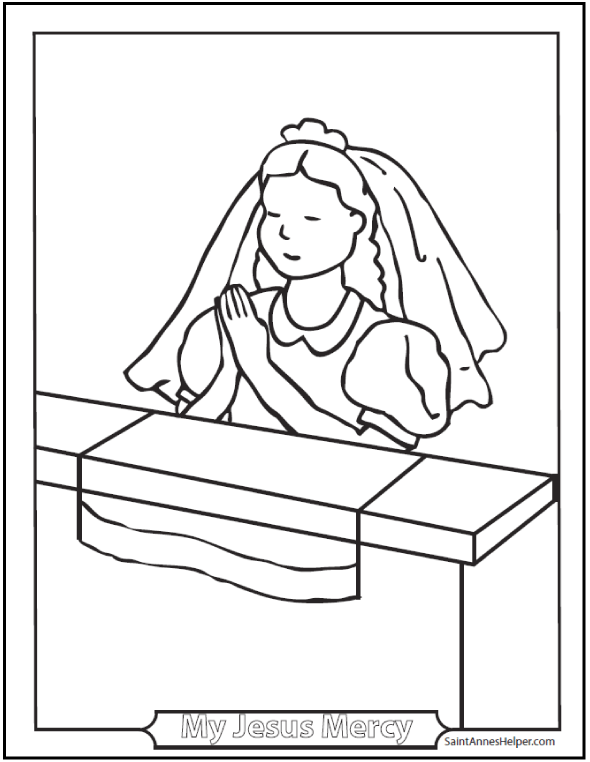 590x762 Girl Communion Coloring Page