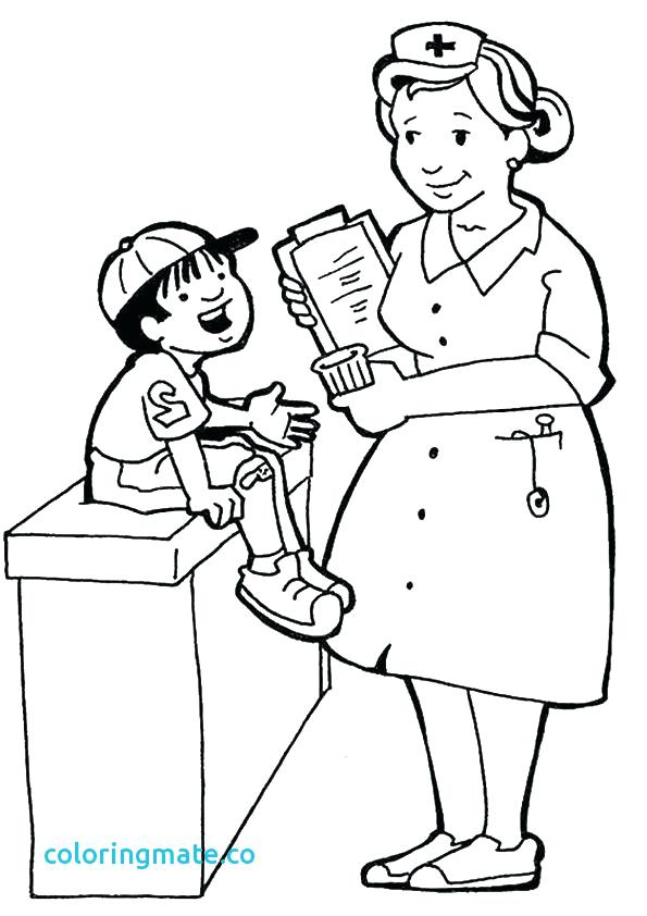 595x842 Community Helpers Coloring Pages Nurse Printable Coloring