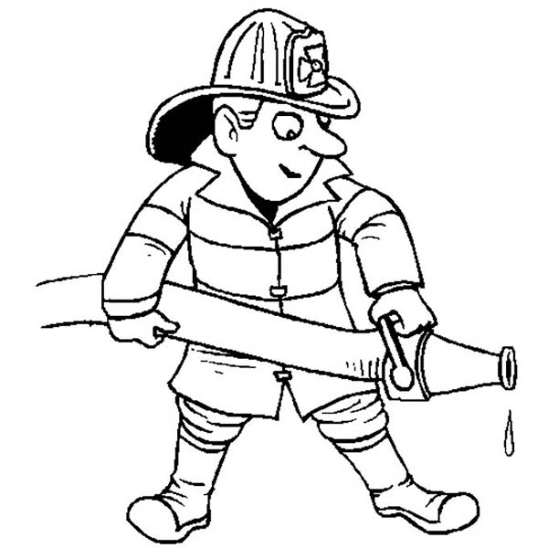 600x600 Fireman Extinguishing Fire In Community Helpers Coloring Page