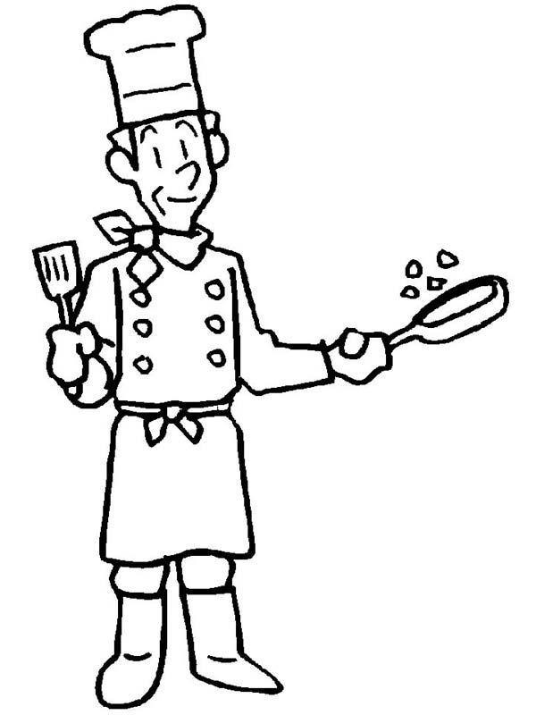 600x800 Master Chef In Community Helpers Coloring Page