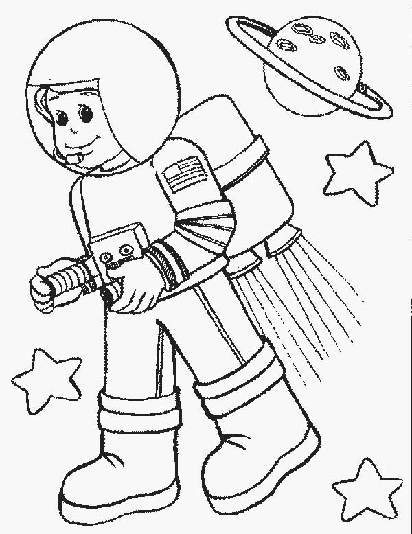 600x778 Astronout In Space In Community Helpers Coloring Page