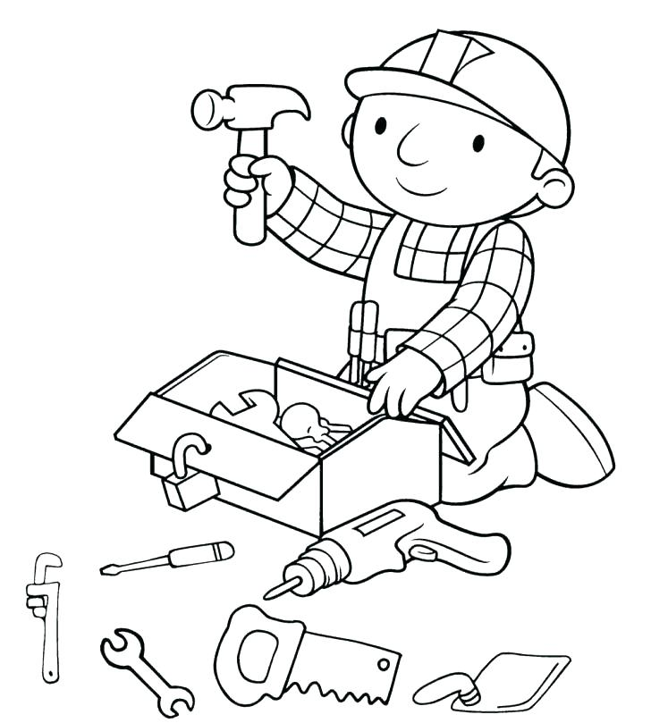 728x809 Construction Worker Coloring Pages Community Workers Coloring