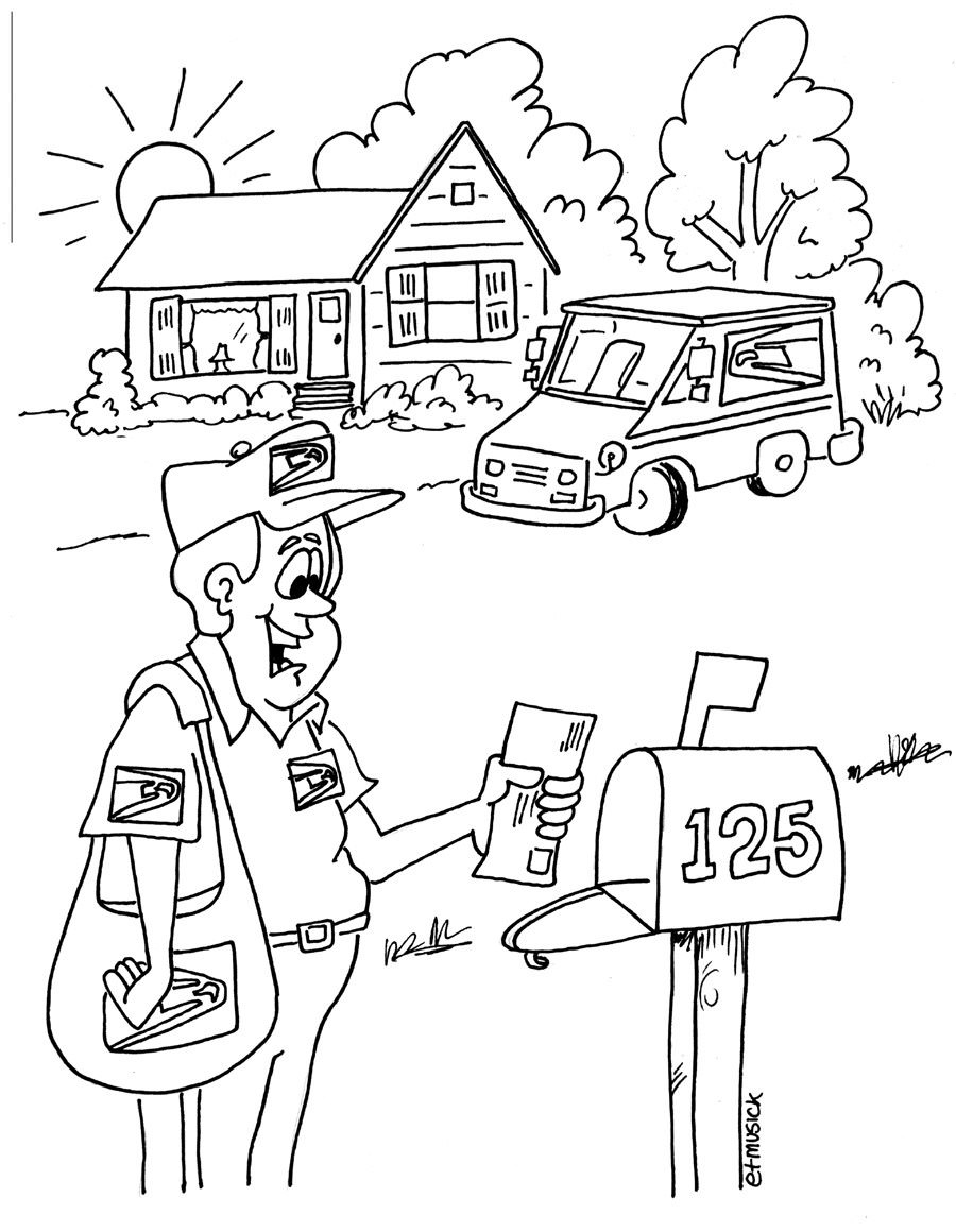 900x1160 Postal Service Coloring Pages On Mr Postman Is Smiling