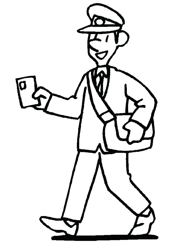 718x957 Community Helpers Coloring Pages Postman Coloring Page Community