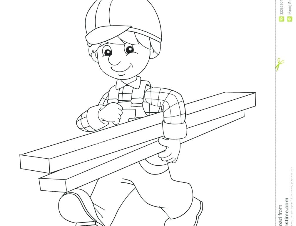 1007x768 Construction Worker Coloring Pages Construction Worker Looking
