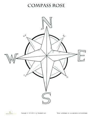 350x453 Compass Rose Printable Compass Rose Coloring Sheet Compass