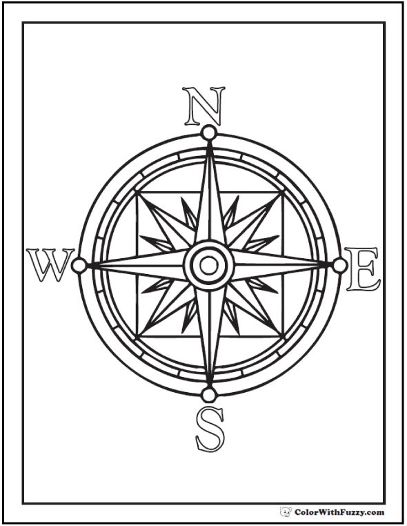 590x762 Compass Coloring Pages Colouring Pages Compass Rose Coloring Page