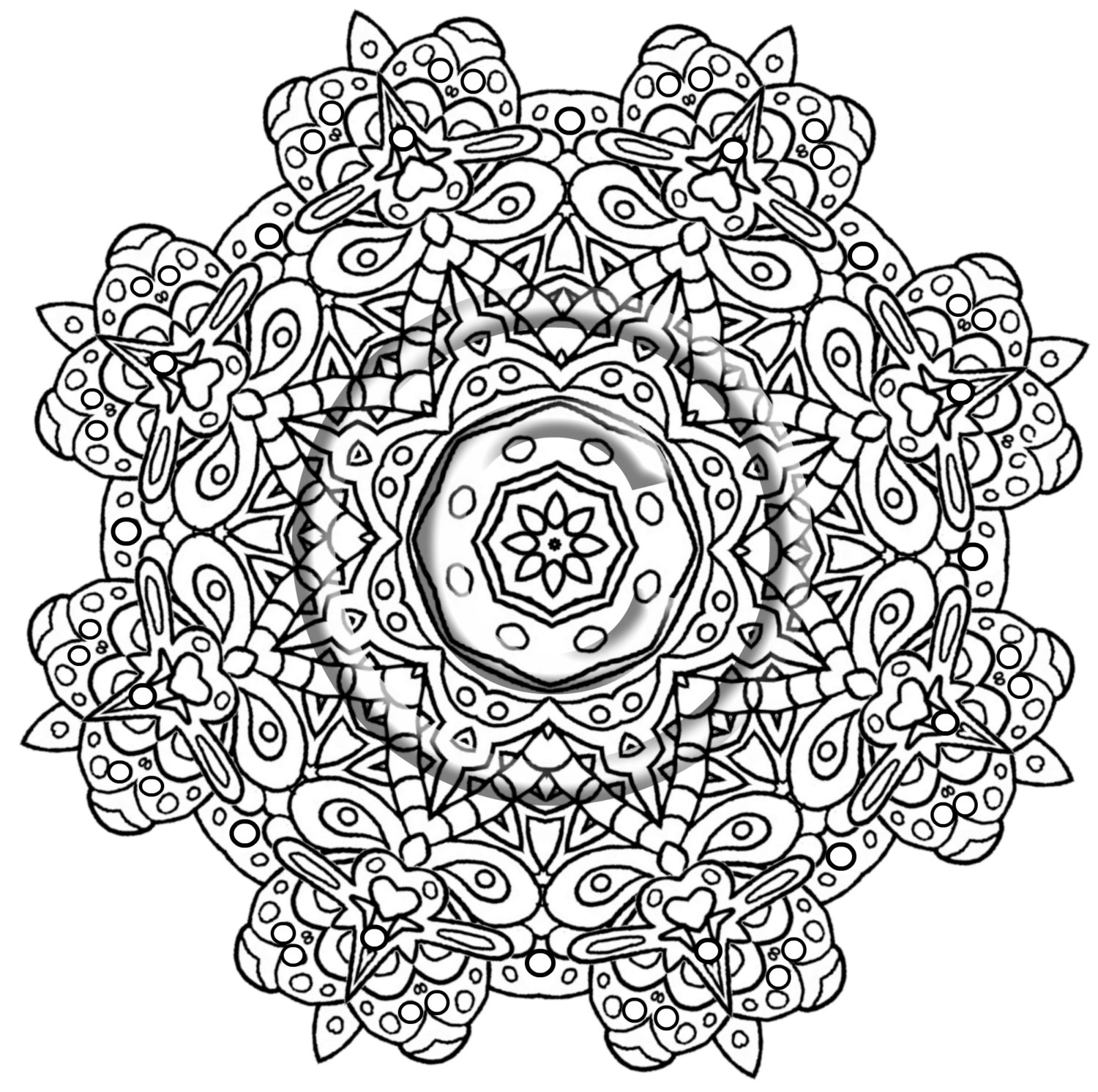 1500x1492 Intricate Mandala Coloring Pages Ivector Co