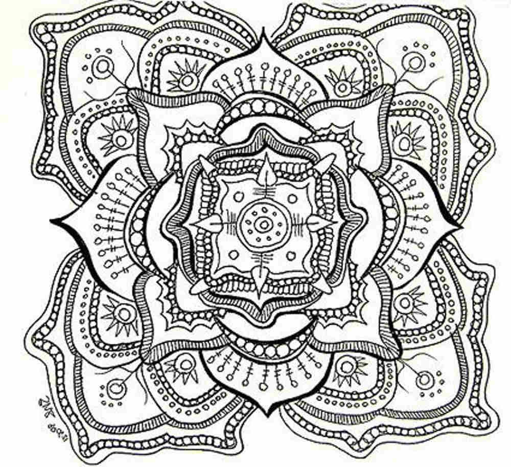 1000x913 Printable Complex Mandala Coloring Pages Inside Intricate Idea