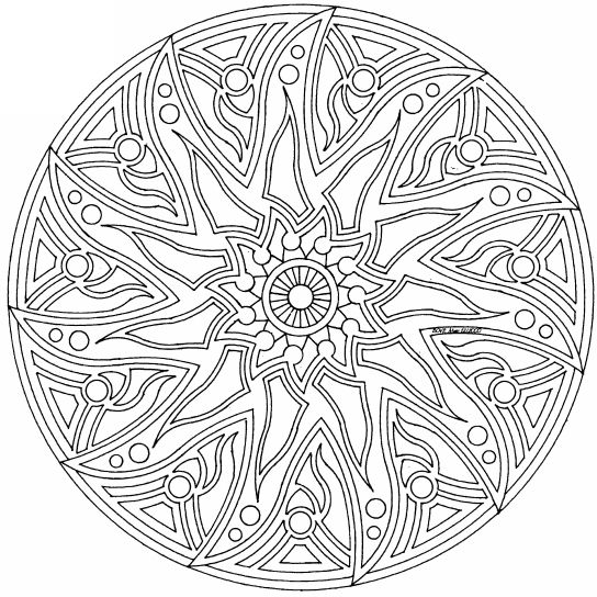 544x544 Complex Mandala Colouring Pages