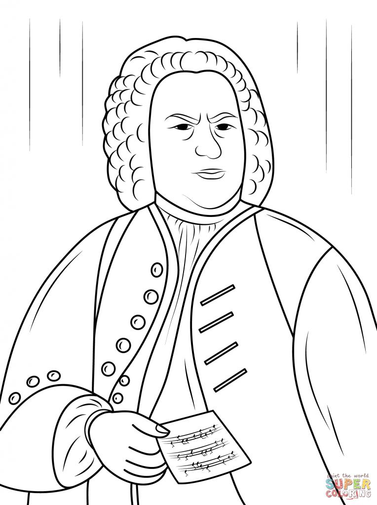 764x1024 Johann Sebastian Bach Composer Coloring Pages