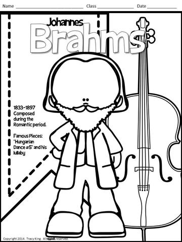 360x480 Meet The Composers Set Of Coloring Sheets Coloring Book