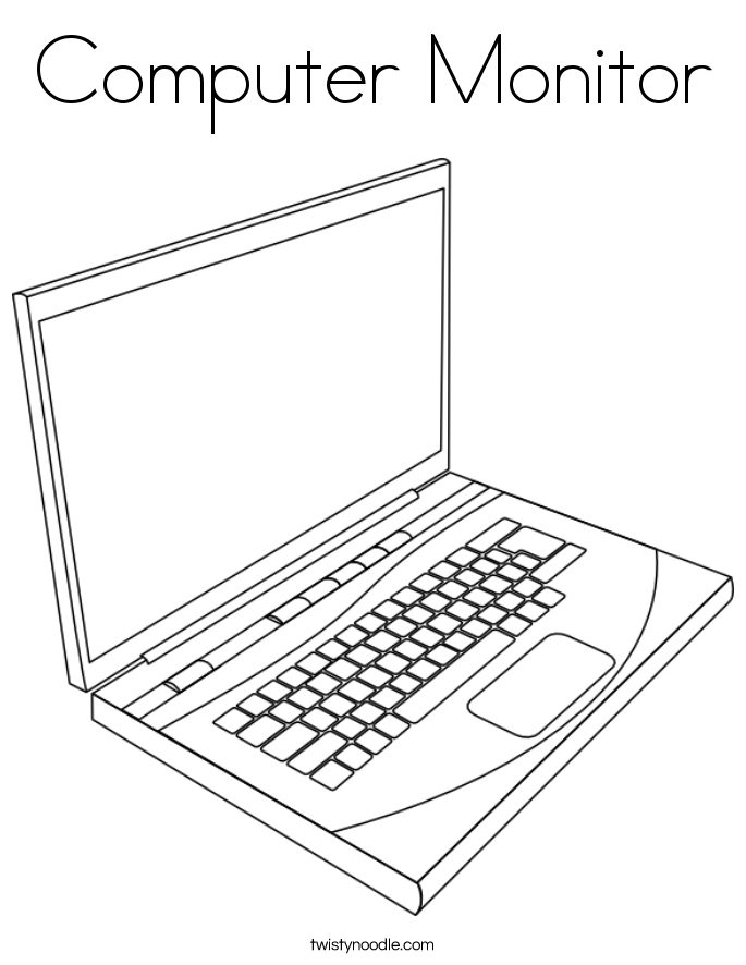 685x886 Computer Monitor Coloring Page