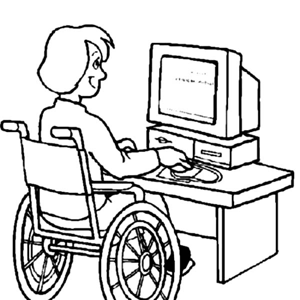 600x600 Disability Girl On Computer Coloring Page Bored Bored Bored
