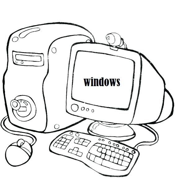 567x623 Computer Coloring Page A Computer With Mouse And Keyboard Coloring