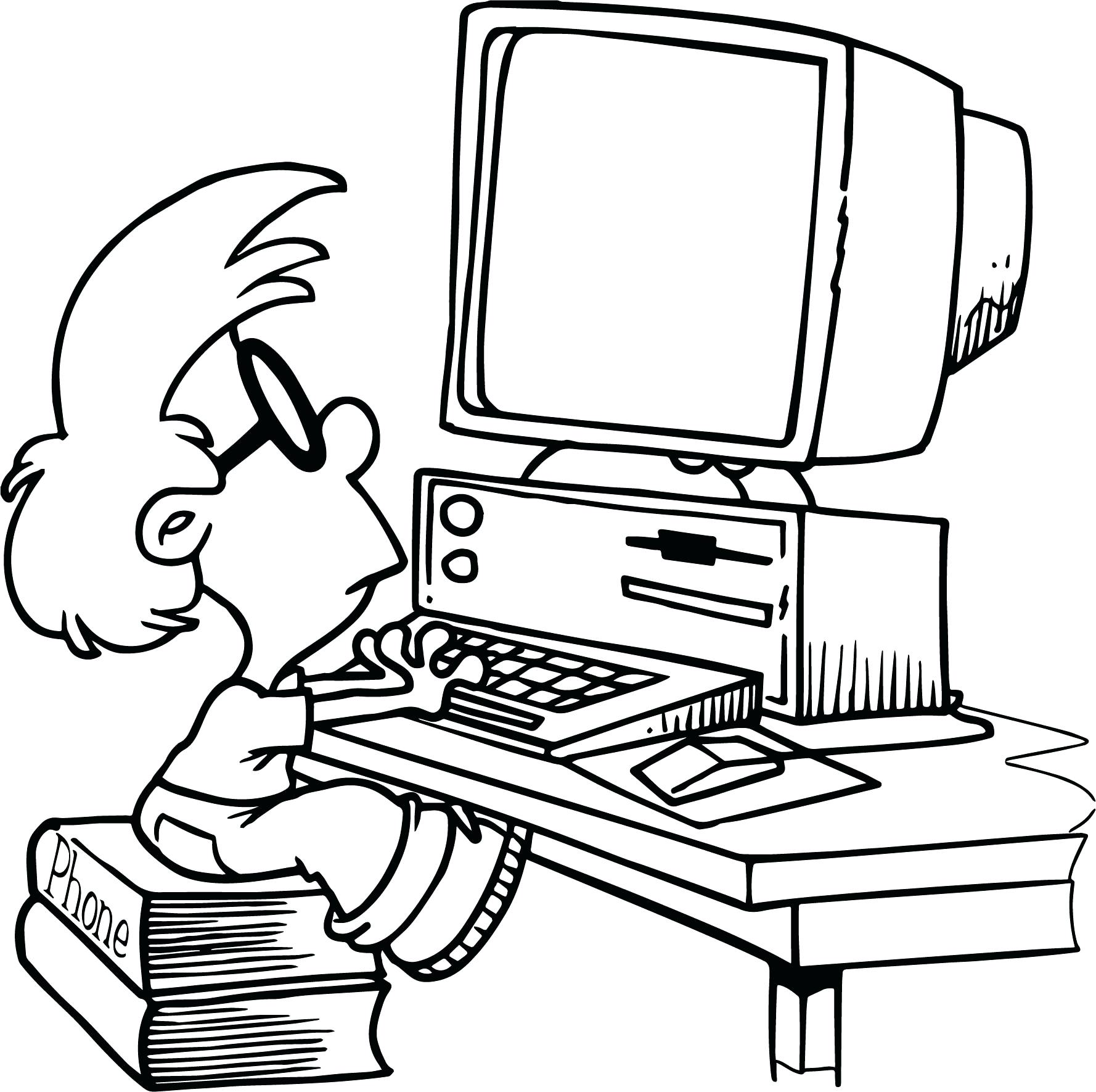 1778x1770 Computer Kid Playing Coloring Page Enchanting Sheets Lab Pages