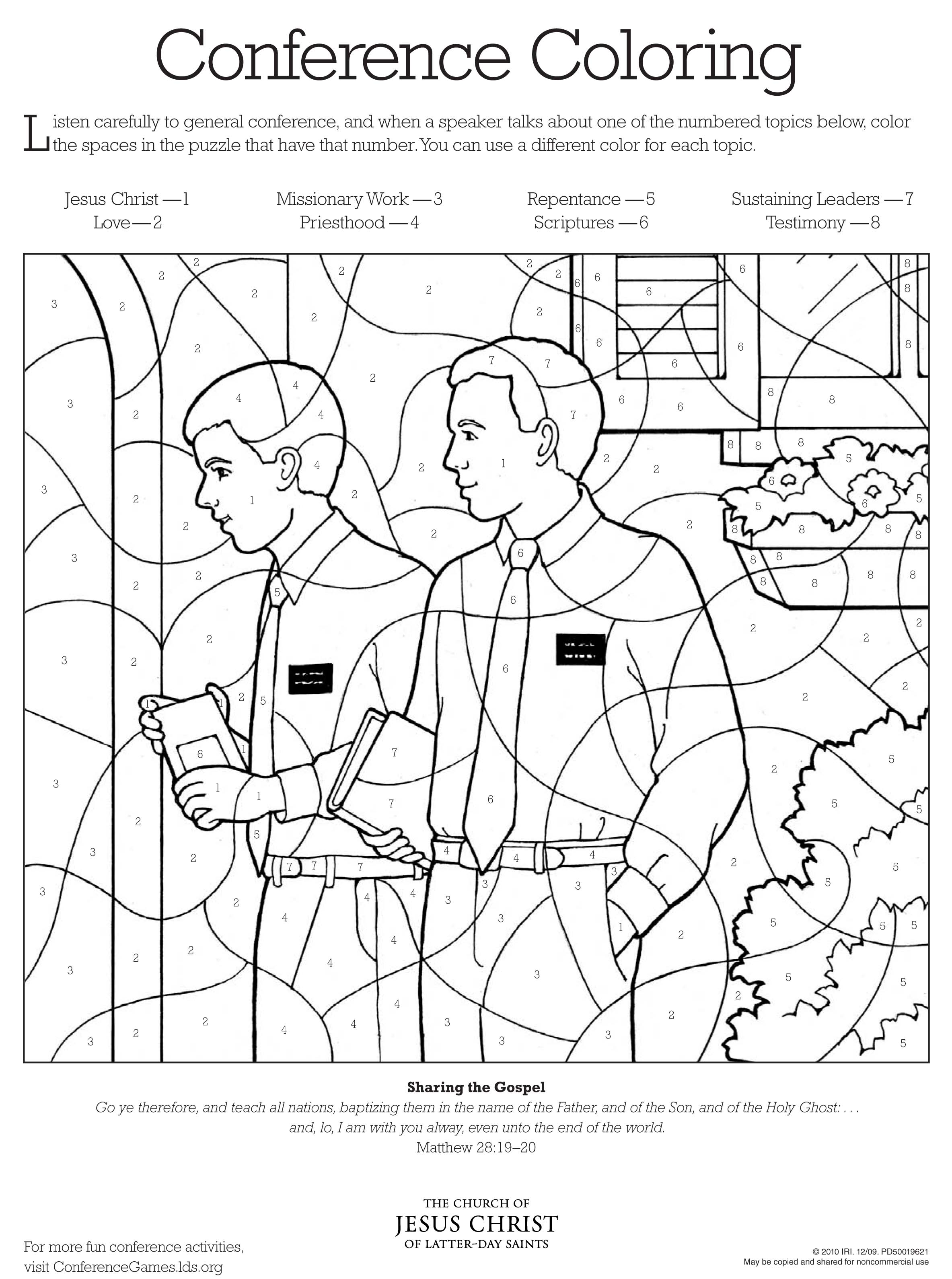 2367x3180 Conference Coloring Page Lds Lesson Ideas