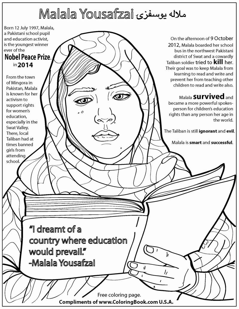 800x1035 Coloring Books Malala Yousafzai Free Online Coloring Page