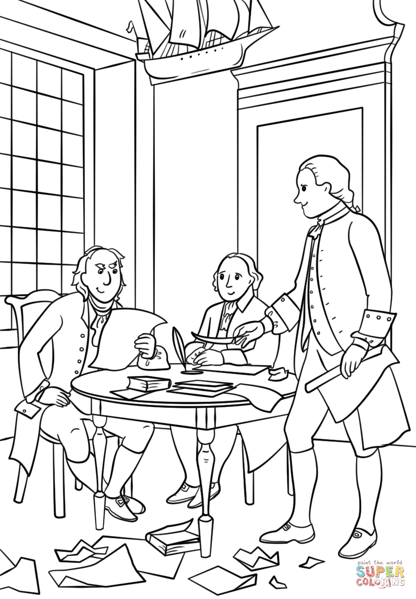824x1186 Writing The Declaration Of Independence Coloring Page