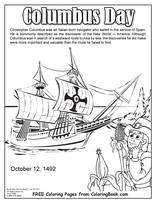 612x792 Coloring Books Columbus Day Free Online Coloring Page
