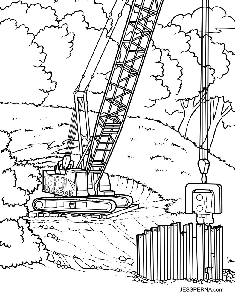 786x1000 Construction Crane Coloring