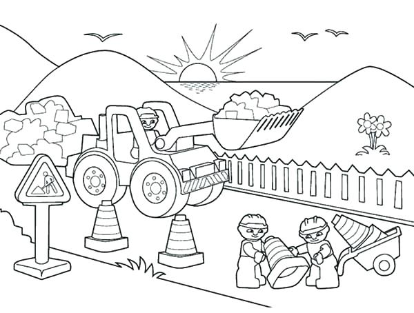 600x454 Construction Vehicles Coloring Pages Construction Vehicles
