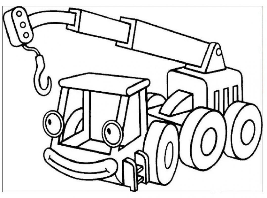 1080x800 Crane Truck Coloring Page Free Printable Cranes Pages Transport