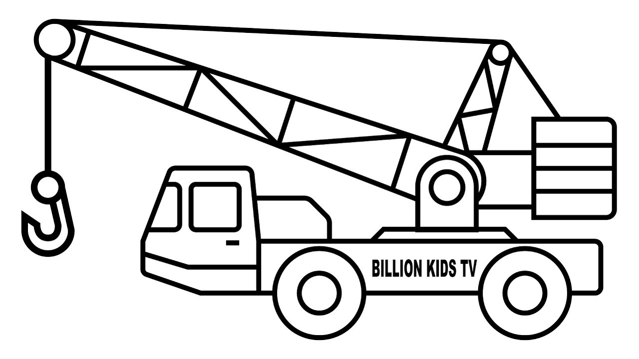 1280x720 Crane Truck Coloring Pages, Colors For Kids With Construction