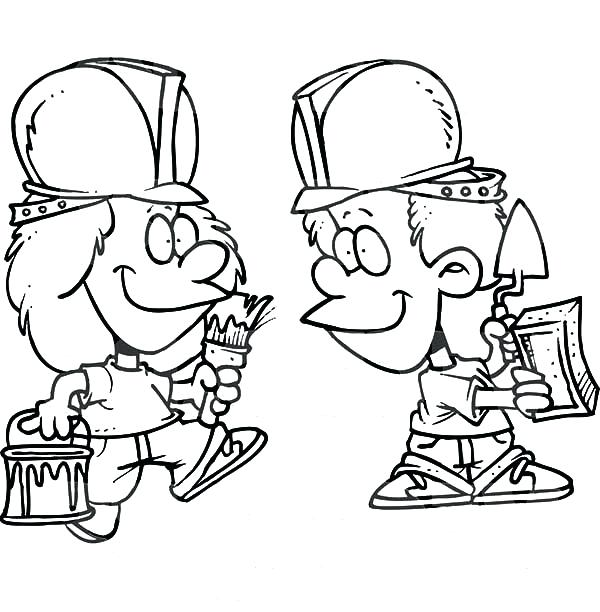 600x612 Construction Worker Coloring Pages Cartoon Of Two Construction
