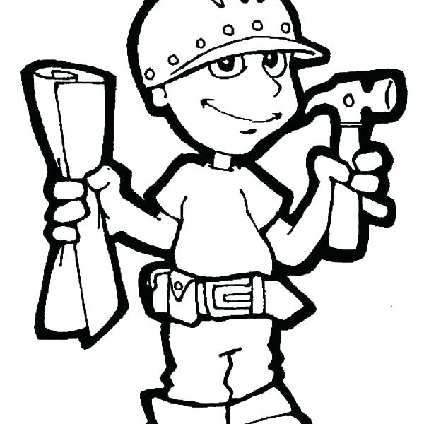 600x600 Construction Worker Coloring Pages Construction Worker Coloring