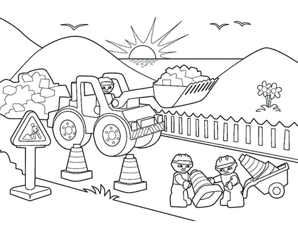 600x454 Construction Vehicles Coloring Book Pages Printable Coloring
