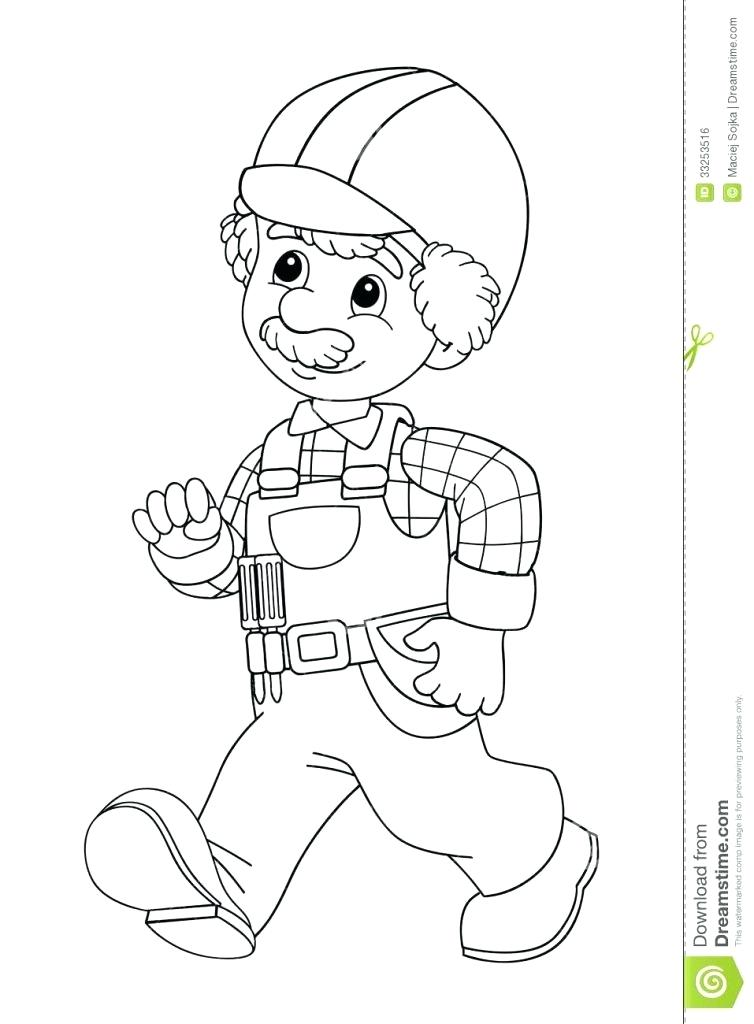 754x1024 Construction Worker Coloring Sheets Pages To Print Free Printable