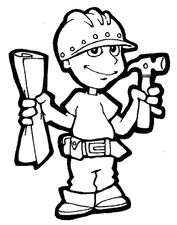 600x762 Construction Worker On Jobs Coloring Pages Batch Coloring