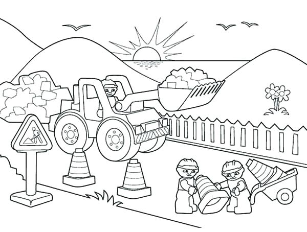 600x454 Lego Construction Worker Coloring Pages Hurry Construction Worker