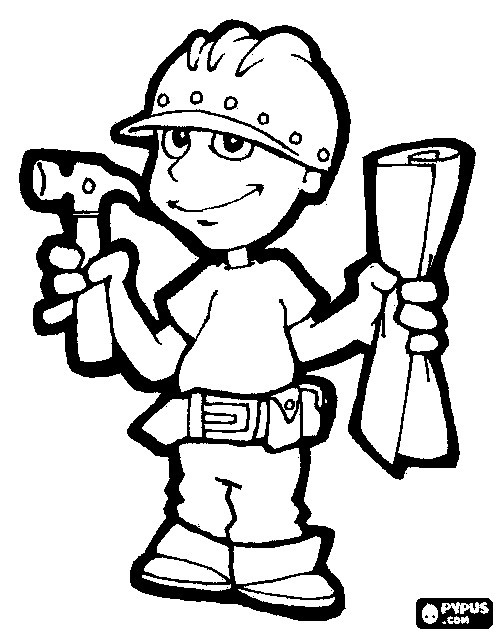 500x635 Construction Worker Coloring Page