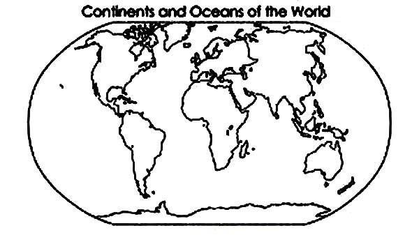 600x337 Continent And Oceans Of The World In World Map Coloring Page