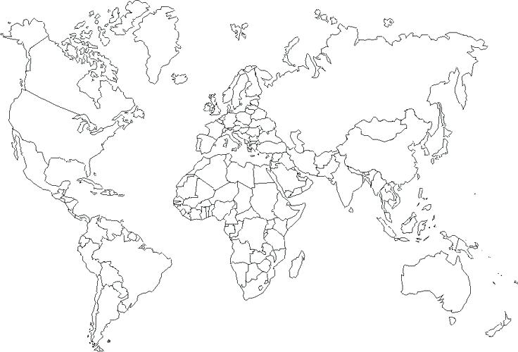 736x500 Continents Coloring Page